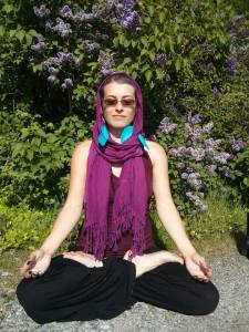 I am meditating beside some lilacs.